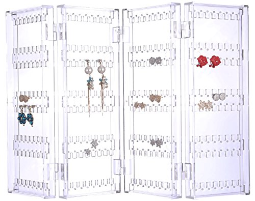 Sooyee 256 Holes 5 Tiers Acrylic Earrings Holder 4 Doors Foldable Necklace Hanging Jewelry Organizer Double Sided Stand -
