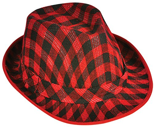 Deluxe Red and Black Plaid Pattern Fedora Hat (Red And Black Fedora Hat)