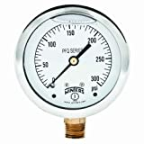 """Winters PFQ Series Stainless Steel 304 Single Scale Liquid Filled Pressure Gauge with Brass Internals, 0-300 psi, 2-1/2"""" Dial Display, +/-1.5% Accuracy, 1/4"""" NPT Bottom Mount"""