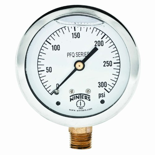 Winters PFQ Series Stainless Steel 304 Single Scale Liquid Filled Pressure Gauge with Brass Internals, 0-300 psi, 2-1/2