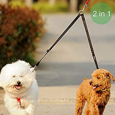 Vastar Double Dog Walker, Adjustable Double Dog Leash for Pets, No Tangle Two Dogs Training Leash for Dogs up to 110 Pounds, Premium Quality Dog Leash Coupler for 2 Dogs, 13.8 to 24 Inch