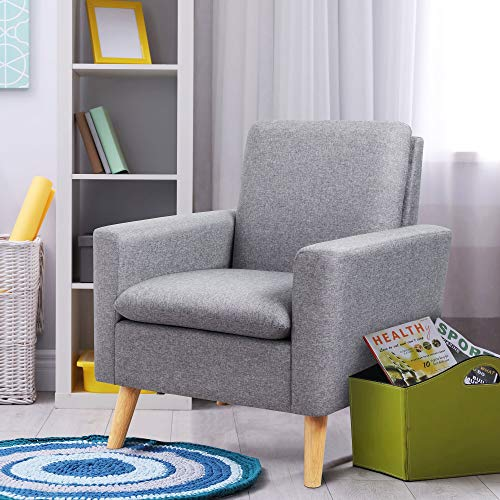 Shintenchi Modern Accent Chair, Linen Single Sofa Fabric Accent Arm Chair with Solid Wood Legs, Comfy Upholstered Reading Sofa Chair for Living Room, Bedroom, Office, Small Living Space, Grey
