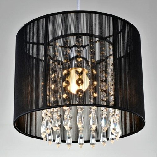 LightInTheBox Black Brushed Crystal Chandeliers with 1 Light LED Pendant Lamp Ceiling Fixture for Dining Room, Bedroom