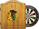 Imperial Officially Licensed NHL Merchandise: Dart Cabinet Set with Steel Tip Bristle Dartboard and Darts, Chicago Blackhawks