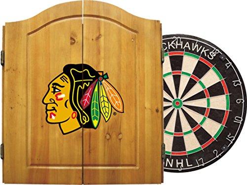 Imperial Officially Licensed NHL Merchandise: Dart Cabinet Set with Steel Tip Bristle Dartboard and Darts, Chicago Blackhawks (Chicago Dart Blackhawks)