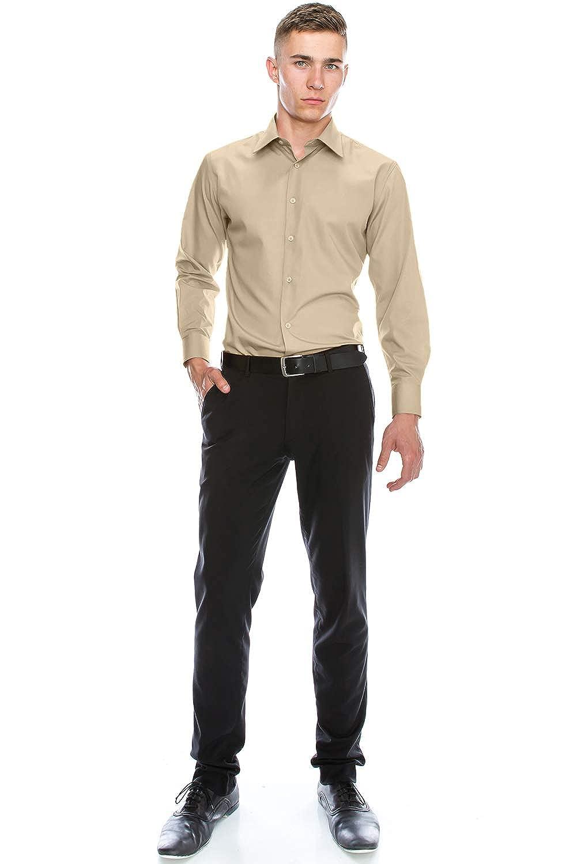 Big JC DISTRO Mens Slim Fit Solid Dress Shirts Double-Button Cuffs