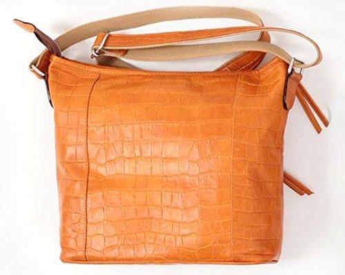 良質牛革 ショルダーバッグ クロコ型押し 本革 日本製 キャメル No.2587 レディースバッグ (鞄 かばん バッグ) 女性かばん   B07796DR22