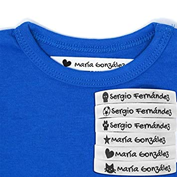 100 Etiquetas Termoadhesivas Personalizadas con Icono para marcar la ropa. Tela Blanca