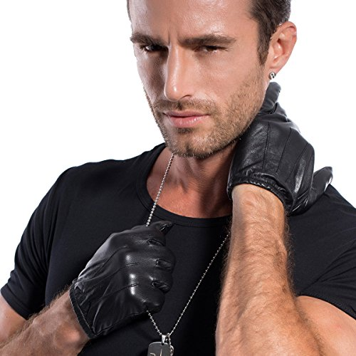 MATSU Mens Driving Leather Gloves For Motorcycle,Police,Lambskin Leather M1063 (M, (Black Lambskin Leather Gloves)