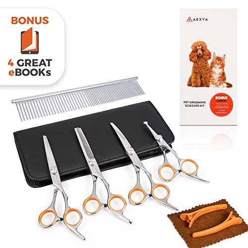 AEXYA Premium Dog Grooming Scissors Kit - Pet Groom Hair Tool Set Stainless Steel - Straight