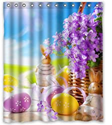 Standard-Store Custom Fashionable Design Happy Easter 1 Waterproof Fabric Polyester Shower Curtain