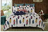 3 Piece Reversible Dream Catcher Design Quilt Set King Size, Featuring Colorful Feathers Printed Pattern Bedding, Stylish Chic Bohemian Inspired Girls Bedroom Decoration, Red, Blue, White, Multicolor