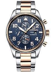 PASOY Men Pilot Automatic Mechanical Watch Luminous Dial Sapphire Glass Week Month 24/Hours Watches Blue