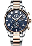 PASOY Men Pilot Automatic Mechanical Watch Luminous Dial Sapphire Glass Week Month 24/Hours Watches Blue