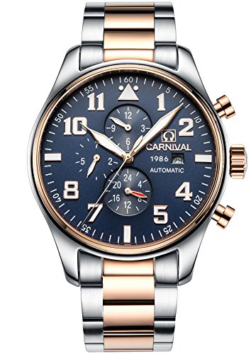 Hours Round Sapphire - PASOY Men Pilot Automatic Mechanical Watch Luminous Dial Sapphire Glass Week Month 24/Hours Watches Blue