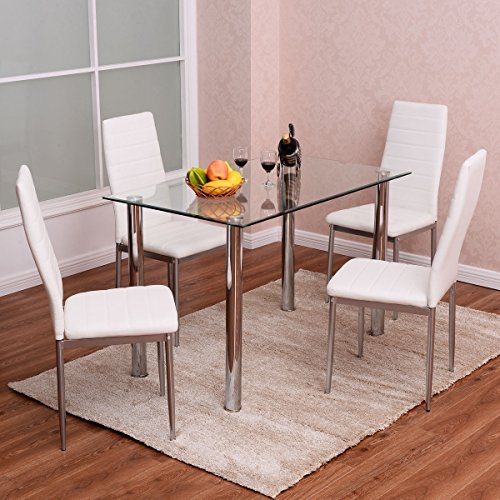 Tangkula 5 PCS Dining Table Set Glass Table and Metal Chairs Home Dinette Furniture (Glass Set Chair)