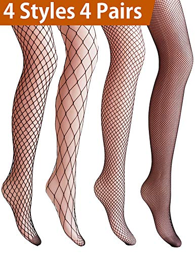 Black Net Pantyhose - VERO MONTE 4 Pairs Fishnet Stockings for Women Net Tights Lace Stockings (BLACK)