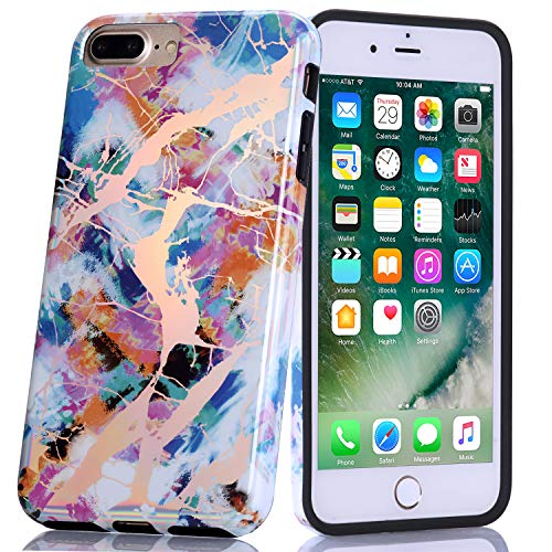 BAISRKE Shiny Laser Style Multi-Colored Marble Design Bumper TPU Soft Rubber Silicone Cover Phone Case Compatible with iPhone 7 Plus/iPhone 8 Plus [5.5 ()