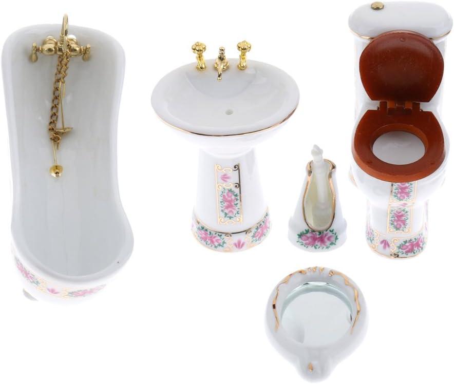 Sink Ceramic Bathroom Set Toilet Bathtub Tongina 5 Pieces 1:12 Mini Porcelain Furniture Kits Mirror and Brush with Stand Doll House Furnishings