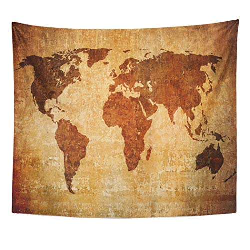 (Emvency Decor Wall Tapestry Old Map of The World Rustic Vintage Abstract America Global Wall Hanging Picnic for Bedroom Living Room Dorm 60x50 Inches)