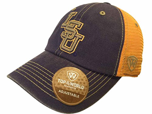 Top of the World LSU Tigers Tow Purple Gold Past Mesh Adjustable Snapback Slouch Hat Cap