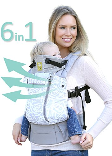 LÍLLÉbaby The COMPLETE All Seasons SIX-Position, 360° Ergonomic Baby & Child Carrier, Grey Frosted Rose - Multi-Position Ergonomic Baby Carrier for Infants Babies Toddlers
