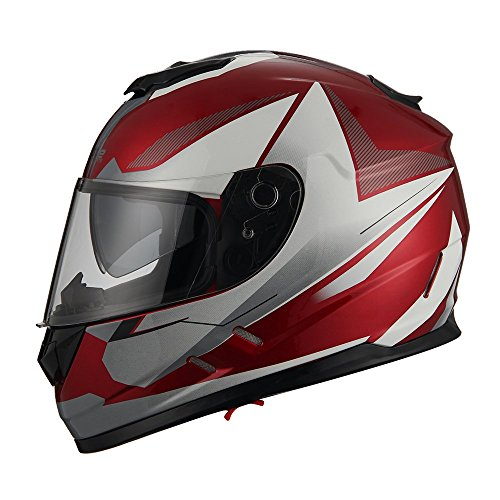 Triangle Motorcycle Street Bike Dual Visor Helmets DOT Approved (Glossy Red/White, Medium)