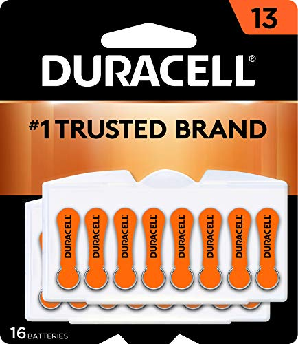 Duracell - Hearing Aid Batteries Size 13 (Orange) - long lasting battery with EasyTab for ease of installation - 16 count