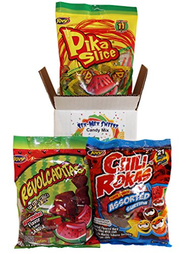 Mexican Candy Assortment Box Includes Jovy Spicy Candy: Pika Slice Chili Lollipops, Revolcaditas Watermelon Candy With Chile And Chili Rokas Assorted Chili Candy
