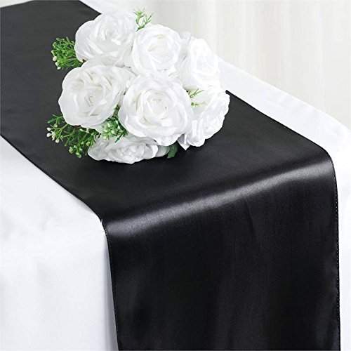 Tiger Chef 12-Pack Black, 12 x 108 inches Long Satin Table Runner for Wedding, Table Runners fit Rectange and Round Table Decorations for Birthday Parties, Banquets, Graduations, Engagements (Black Runner Table)
