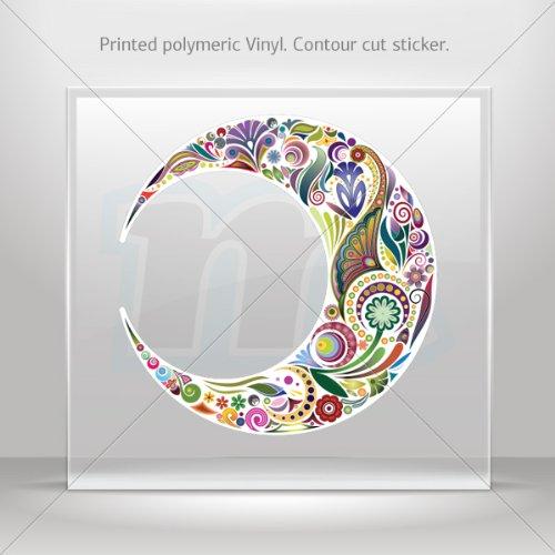 Sticker Decals Floral Moon car helmet window Boat jet-ski Garage door 6 X 5.9 Inches Vinyl color print 0600 XZE58