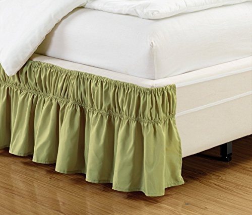 Easy Fit, Wrap Around SAGE GREEN Ruffled Solid Bed Skirt Fits both QUEEN and KING size bedding soft 90 GSM microfiber fabric allows for Natural Draping, 14