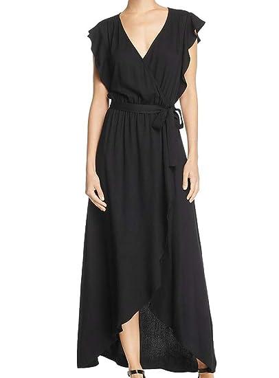 Amazon Splendid Womens Solid Ruffle Wrap Dress Black Dress
