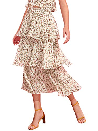 - WDIRARA Women's Solid High Waist Tiered Layered Ruffle Floral A-Line Skirt Multicolor L