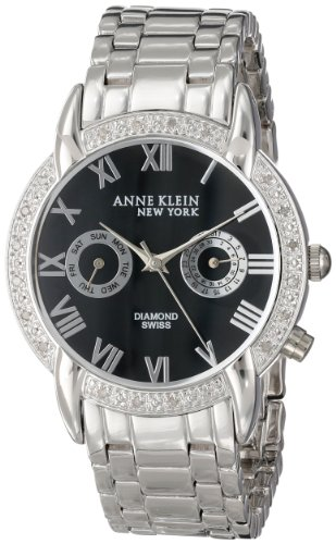 Anne Klein Women's 12/2071BMSB Diamond Accented Multi-Function Silver-Tone Bracelet Watch