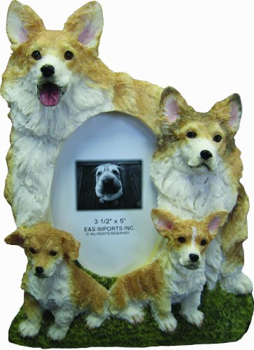 Welsh Corgi Picture Frame Holds Your Favorite 3 x 5 Inch Photo, A Hand Painted Realistic Looking Welsh Corgi Family Surrounding  Your Photo. This Beautifully Crafted Frame is A Unique Accent To Any Home or Office. The Welsh Corgi Picture Frame Is The Perfect Gift For Welsh Corgi Owners And Lovers!