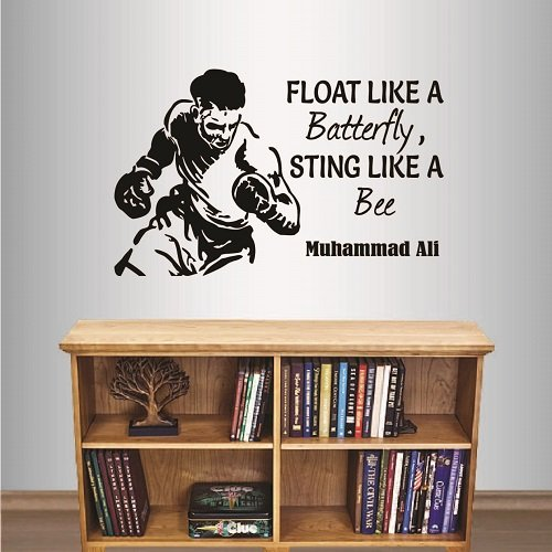 Wall Vinyl Decal Home Decor Art Sticker Float Like a Batterfly,Sting Like a Bee Muhammad Ali Quote Phrase Boxer with Gloves Boxing Gym Room Removable Stylish Mural Unique Design 2171