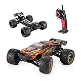 HOSIM RC Cars 33+MPH Upgraded S911 Electric Remote Control Truck S912 High Speed Off-Road 1/12 Scale Full Proportional 2.4Ghz 2WD Monster Truggy (Orange)