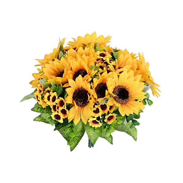 Lvydec Artificial Sunflower Bouquet, 2 Bunches Silk Sunflowers Fake Yellow Flowers for Home Decoration Wedding Decor (2 Pack)
