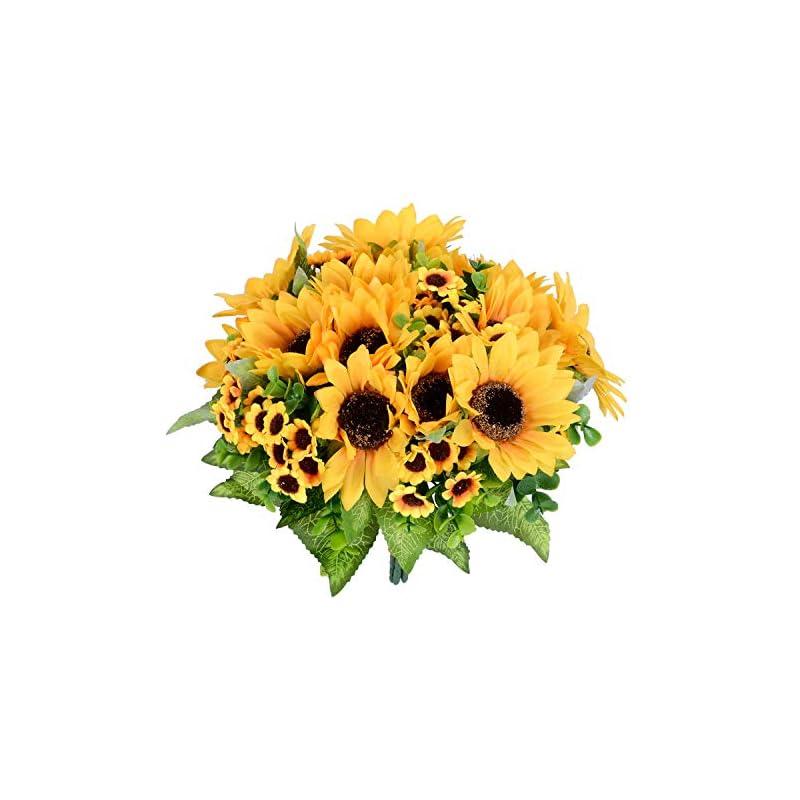 silk flower arrangements lvydec artificial sunflower bouquet, 2 bunches silk sunflowers fake yellow flowers for home decoration wedding decor (2 pack)