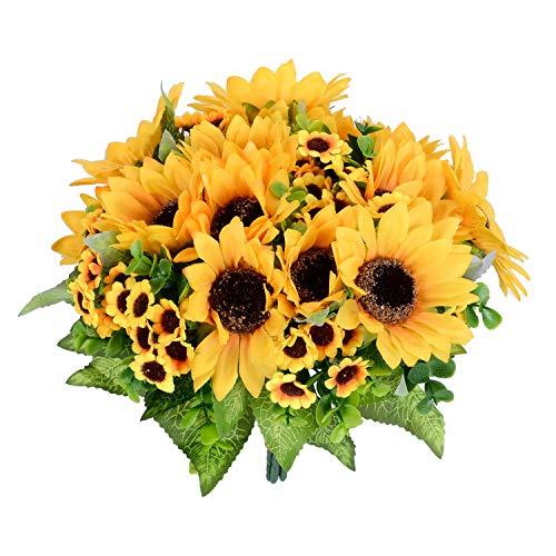 (Lvydec Artificial Sunflower Bouquet, 2 Bunches Silk Sunflowers Fake Yellow Flowers for Home Decoration Wedding Decor (2)