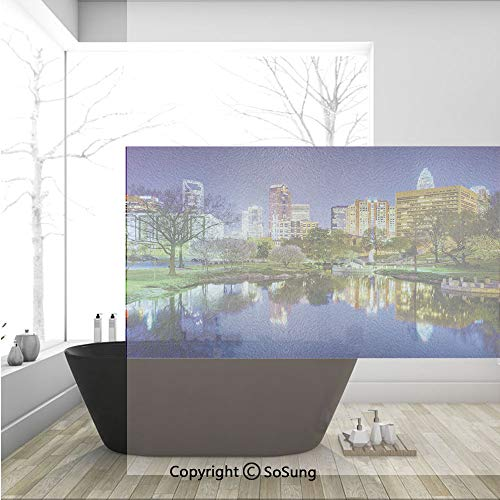 3D Decorative Privacy Window Films,North Carolina Marshall Park United States American Night Reflections on Lake Photo,No-Glue Self Static Cling Glass film for Home Bedroom Bathroom Kitchen Office 36x