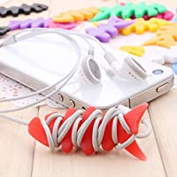 Gain 5/20/50/100 Pcs Cute Multicolor Soft Silicone Rubber Fish Bone Fishbone Ninja Darts Star Key Cord Winder Cable... deal