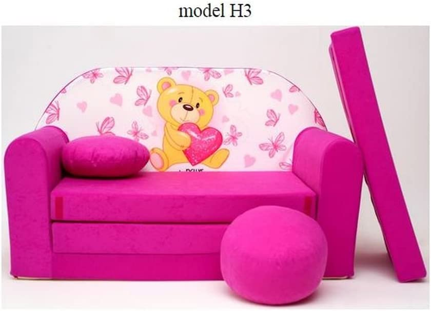 ItalPol Produkt Divano divanetto bambini cuscino e puff mini divano transformabile in lettino.