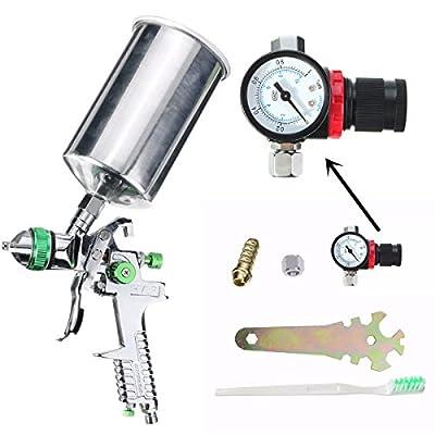 dipshop 2.5mm 600cc HVLP Gravity Feed Spray Gun Kit Auto Paint Primer Metal Flake with R