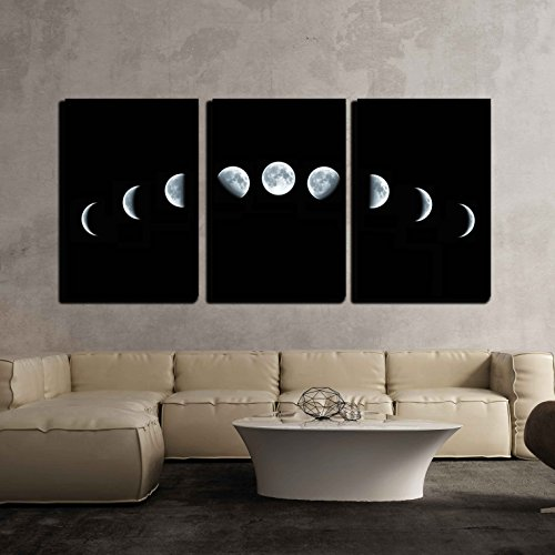 "wall26 - 3 Piece Canvas Wall Art - Nine Phases of The Full Growth Cycle of The Moon Isolated on Black Background - Modern Home Decor Stretched and Framed Ready to Hang - 16""x24""x3 Panels"