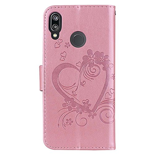 Protection Foldable Phone Kickstand for 3D Katech inches Cover 84 P20 in Huawei Lite Slots Lite Quality Card 5 Phone Built Case Patterns Shock Design P20 Bling gold Feature High pattern rose Absorbtion Shell Case Embossed 4qqSdR