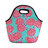 Amzbeauty Insulated Lunch Box for Women Flamingo Print Thermos Lunch Tote Bag