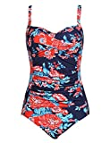 Ekouaer One Piece Swimsuits Women Sexy Push Up Swimwear with Ruffles (Flower Blue,L)