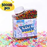 LEEHUR Soft Water Beads (50000 Beads) for Kids Non-Toxic Sensory Play Toys Rainbow Mix Gel Jelly Growing Balls Spa Refill Vases Home Outdoor Party Decoration 9 Ounces